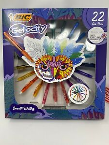 Bic Gelocity Twenty Two Gel Pens With Spin Pen Holder Brand New
