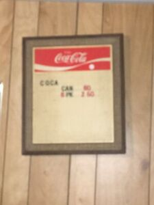 Vintage COCA COLA Menu Board Collectible w/ Some Letters and Numbers 15