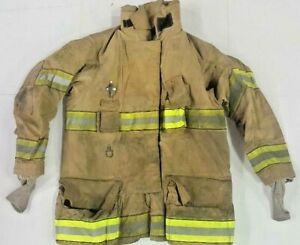 42x35 Globe Gxtreme Firefighter Turnout Jacket Brown Yellow Reflective J784