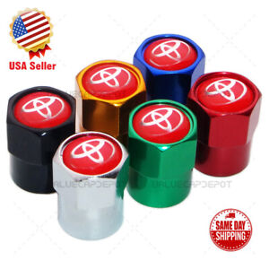 Hex For Red Toyota Emblem Car Wheels Tire Air Valve Caps Stem Dust Cover Sport