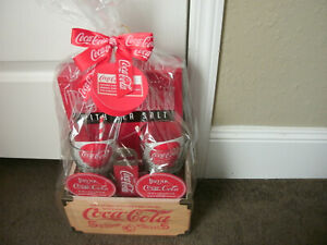 COCA-COLA GIFT SET W WOODEN CRATE, GENUINE GLASSES, OPENER, COSTERS, POPCORN NWT