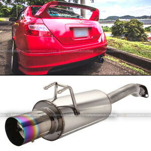 Fit 06 10 Civic 2 4 Dr Stainless Steel Axle Back Exhaust Muffler 4 Green Tip