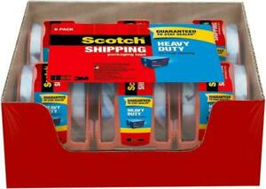 3m Scotch 6 Rolls W dispenser Heavy Duty Clear Shipping Packing Tape 1 88x800