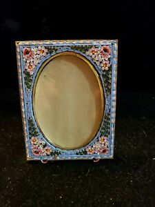 Vintage Italian Micro Mosaic Flowers Easel Back Picture Frame