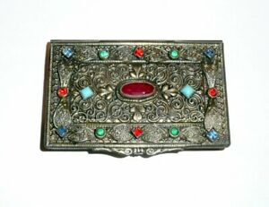 Antique Box Business Card Holder With Gilded Metal And Colored Stones