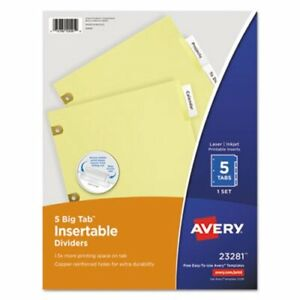 Avery Worksaver Big Tab Dividers Clear Tabs 5 tab Letter Buff ave23281