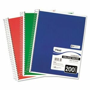 Mead 5 Subject Notebook College Rule 8 1 2 X 11 200 Sheets mea06780