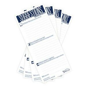 Safco Suggestion Box Cards 3 1 2 X 8 White 25 Cards saf4231