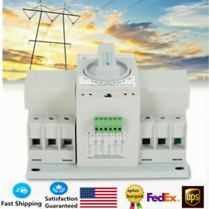 New 63a 3p Dual Power Automatic Transfer Switch Manual Self Cast Cb Level 110v