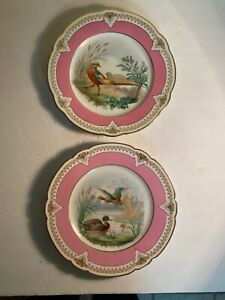 Two Antique French Porcelain Pink Bird Duck Plates 8