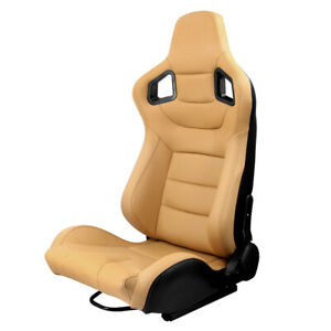 Left Side Reclinable Racing Seat Dual Sliders Sport Bucket Leather Brown Yellow