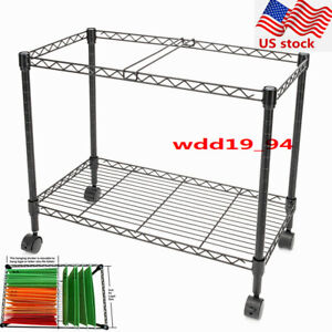Single Tier Metal Rolling Mobile File Cart Storage Car For Letter Office Supplie