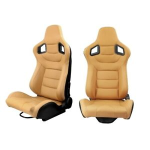 Pair Reclinable Tan Racing Seats Yellow W Dual Sliders Sport Bucket Pvc Leather