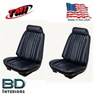 1969 Chevy Chevelle Front Bucket Seat Rear Upholstery Black By Tmi In Stock