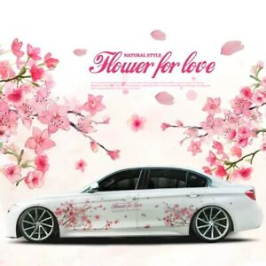 Cherry Blossoms Sakura Flower Car Door Side Vinyl Stickers Decal Both Sides