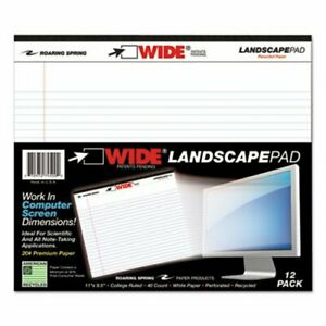 Landscape Format Writing Pad College Ruled 11 X 9 1 2 White roa74500