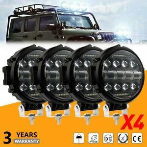 4pcs 7 Inch Round Led Work Lights Offroad Driving Spot Lamp For Jeep Suv Truck