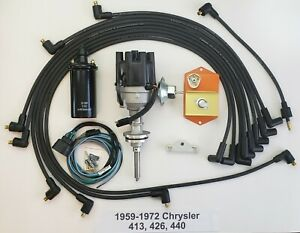 1959 72 413 426 440 Chrysler Electronic Distributor Conversion Kit Wires coil