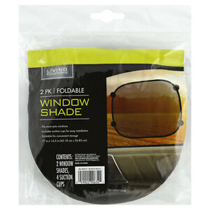 Living Solutions 2pk Foldable Window Shade 2 Window Shades 4 Suction Cups