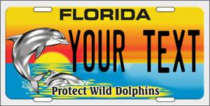 Florida Personalized Custom License Plate For Auto Dolphin Protect Wild Dolphins