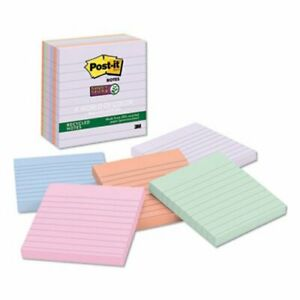 Post it Farmers Market Super Sticky Notes 4 X 4 Lined 6 Pads mmm6756ssnrp