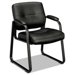 Basyx Vl690 Series Guest Leather Chair Black Leather bsxvl693sb11
