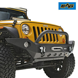 Eag Front Bumper Black With Fog Light Housing Fit For 07 18 Jeep Wrangler Jk