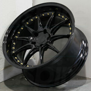 19x11 Gloss Black Wheels Aodhan Ds07 Ds7 5x114 3 15 Set Of 4