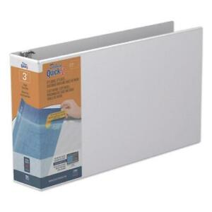 Quickfit Ledger D ring View Binder 3 Rings 3 Capacity 11 X 17 White