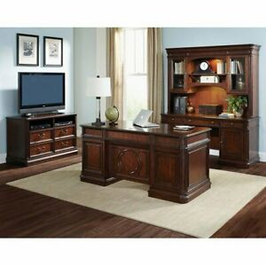 Classic Cherry 4 Piece Executive Office Desk Set With Credenza Hutch File