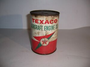 Vintage Texaco Aircraft Engine Oil 1 Quart Can Gas Advertising