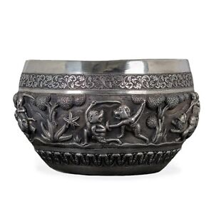 Indian Silver Repouss Hunting Bowl Lucknow 19th Century