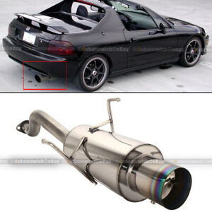 For 93 97 Del Sol Stainless Steel Bolt On Axle Back Exhaust Muffler Green Tip