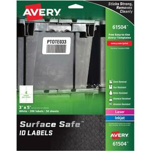 Avery reg Surface Safe r Id Labels 3 X 5 Water Resistant Matte White