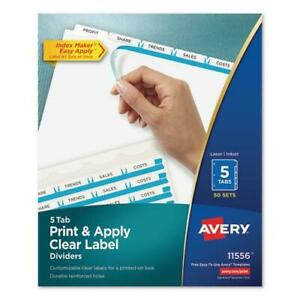 Print And Apply Index Maker Clear Label Dividers 5 White Tabs Letter 50 Sets