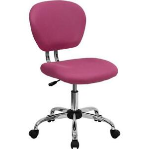 Mid back Pink Mesh Padded Swivel Task Office Chair With Chrome Base