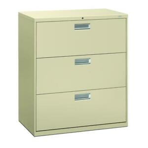 Hon Brigade 600 Series Lateral File Cabinet 36 W 3 Drawers Putty h683