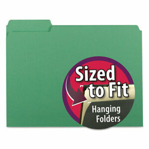 Interior File Folders 1 3 cut Tabs Letter Size Green 100 box
