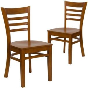 2 Pk Hercules Series Cherry Finished Ladder Back Wooden Restaurant Chair