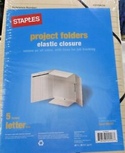Lot Of 5 Staples Letter Manila Project Folders Elastic Close Pack Of 5 509397