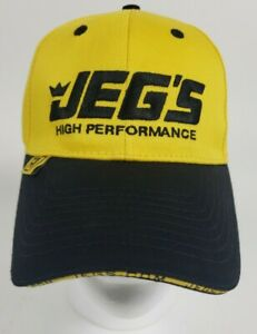 Jegs High Performance Auto Parts Yellow Amp Black Strapback Ball Cap Hat