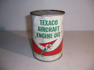 Vintage Texaco Aircraft Engine Oil Full 1 Quart Can Gas Station Advertising