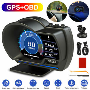 Obd2 Gps Hud Head Up Car Digital Display Speedometer Rpm Alarm Water Oil Temp