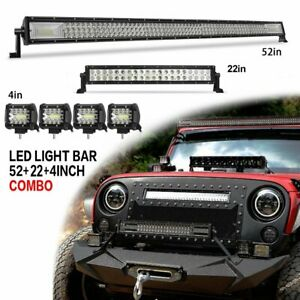 52 Cree Led Light Bar 22 4 For Jeep Wrangler Jk Tj Yj Cj Offroad Driving
