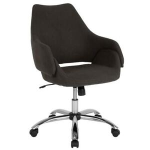 Home And Office Upholstered Mid back Chair With Wrap Style Arms In Black Fabric