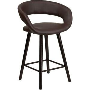 Brynn Series 23 75 High Cappuccino Wood Counter Height Stool In Brown Vinyl