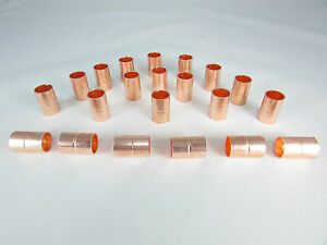 Copper Coupling With Stop Size 3 8 qty 20 For Refrigeration Or A c