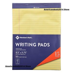 Members Mark Legal Writing Pad Perforated Canary 15 pack Sealed Item