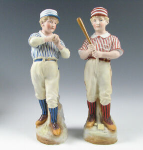 Pair Of Antique Heubach Bisque Porcelain Figurines Baseball Players 12