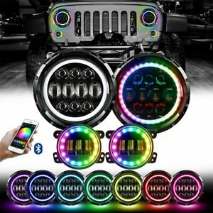 2x 7 Rgb Halo Led Round Projector Headlights 4 Rgb Led Fog Lights For Jeep